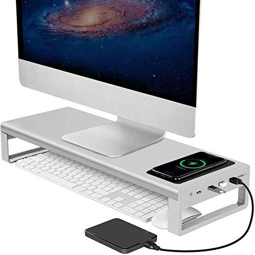 Soporte de soporte de monitor, soporte de monitor de aluminio de 4 puertos USB 3.0, datos de transferencia de soporte y carga, para suministros de oficina y impresoras de ,Plata,540*200*90MM