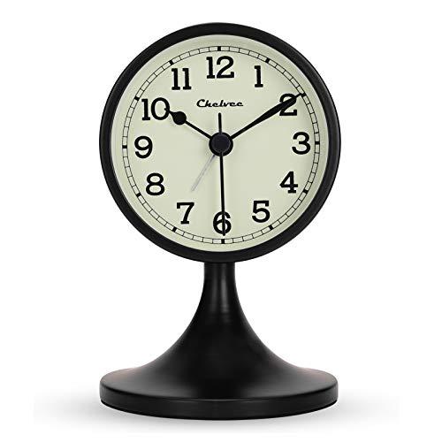 Lafocuse Réveil Analogiqu Noire Silencieux Métal avec Support Amovible Rétro Ancien Horloge de Chevet sans Tic-tac pour Bureau Chambre