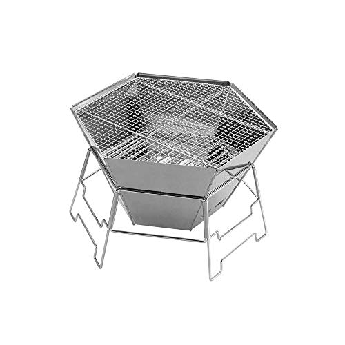 Outdoor Fire Pits 32-inch Outdoor Hexagon Patio Metal Fire Pit Table BBQ Grill for Backyard, Camping, Picnic, Bonfire w/Screen Cover, Weather Protector Cover, Poker, Stone Slate Fi