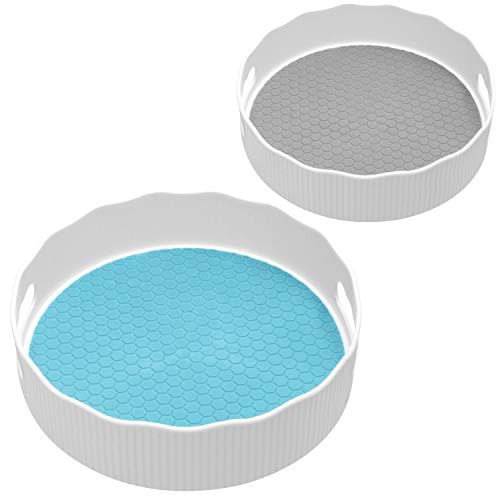 """Nxconsu 2Sizes Lazy Susan Organizer Kitchen Turntable for Cabinet Table Pantry Cupboard Bathroom 360 Rotating Storage Spice Makeup Cosmetic Freezer Refrigerator 11.5"""" Blue 9.5"""" Grey"""