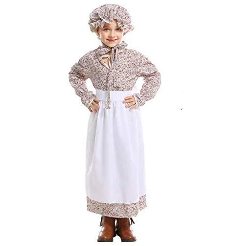 Jerma Frauen's Mädchen's Oktoberfest Kostüm,Fräulein Deutsch Bayerische Dirndl Kleid,Bier Mädchen Kleid Apron Hat,Kind Kostüm,Hexe Kostüm,Halloween Kostüm,Dienstmagd Outfi C L