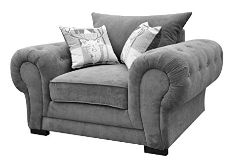 Dorado Corner Sofa Sectional 3 Seater 2 Seater Armchair Cuddle Chair Grey Velour Fabric (Grey, Armchair)