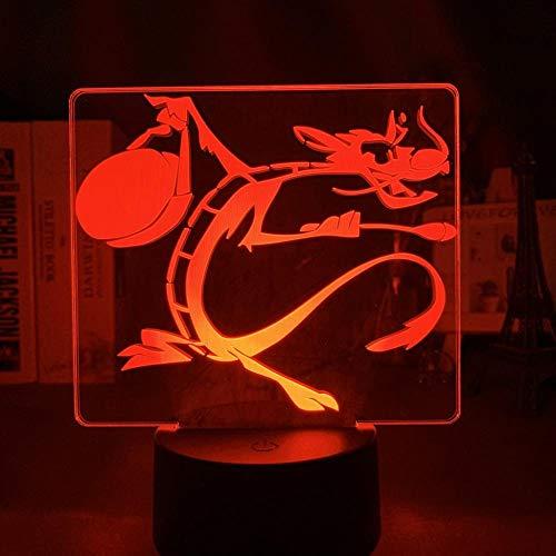 3D Illusionslampe Led Nachtlicht Cartoon Mulan Pilz Drache Figur Für Kinderzimmer Dekoration Touch Sensor Kind Tischlampe Geschenk