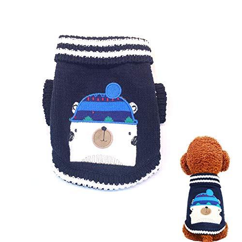 1pc Winter Haustierkleidung Cartoon Hund Halloween Haustier Strickkleid für Kleine mittlere Hunde (L, dunkelblau)