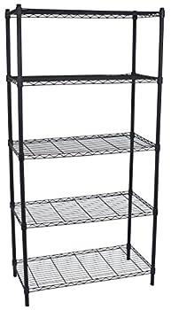 Internet s Best 5-Tier Wire Shelving - Flat Black - Heavy Duty Shelf - Wide Adjustable Rack Unit - Kitchen Storage