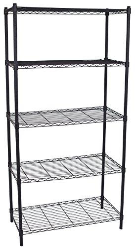 Internets Best 5-Tier Wire Shelving - Flat Black - Heavy Duty Shelf - Wide Adjustable Rack Unit - Kitchen Storage