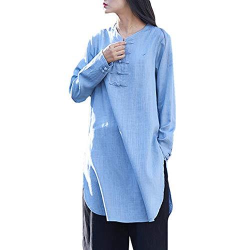 Mlide blusa con botones de rana china retro de manga larga de lino para mujer
