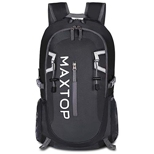 MAXTOP Hiking Backpack 40L Lightweight Packable for Traveling Camping Waterproof Foldable Outdoor Travel Daypack (Dark Black)