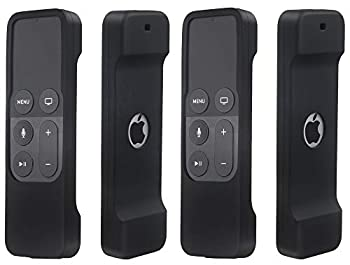 2 Pack Remote Case Compatible with Apple TV 4K/5th and 4th Generation - Auswaur Shock Proof Silicone Remote Cover Case Compatible with Apple TV 4 and 4K/5th Gen Siri Remote Controller - 2Pack Black