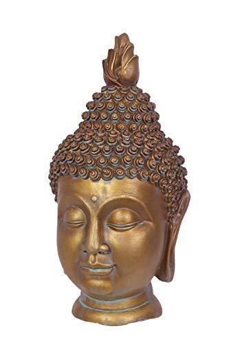 linoows G2129: Buddha Kopf, Goldene Garten Büste, Gartenfigur für Asiatische Gärten