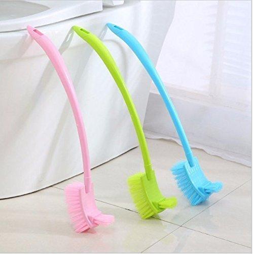 UChic Lot de 3 brosses de toilettes portables en plastique - Avec long manche - 3 couleurs disponibles