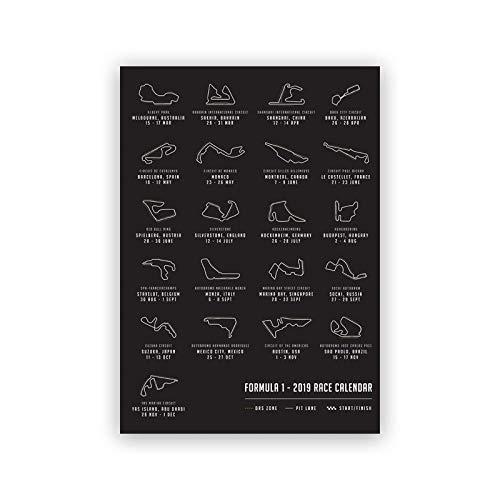 IGNIUBI F1 Formula Grand Prix Calendario de Carreras Mapa del Circuito Pista Art Poster Race Lienzo Pintura Impresiones Imagen Hogar Arte de la Pared Decoración 50X70cm 20x28 Pulgadas Sin Marco