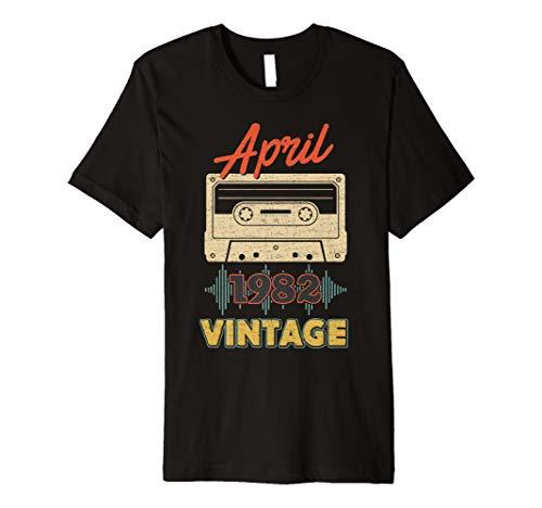 Vintage April 1982 Retro Mixtape 37th Birthday T-Shirt