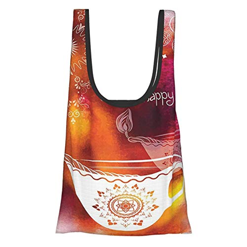 Diwali Decor Rainbow Colored Like Brush Print With Religious Festive Diwali Art Candles Multicolored Reusable Grocery Bags, Eco-Friendly Shopping Bag
