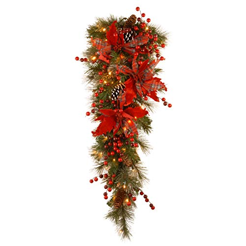 National Tree Company Pre-lit Artificial Christmas Teardrop Decorative Collection   Flocked with Mixed Decorations and LED Lights   Tartan Plaid - 3 ft