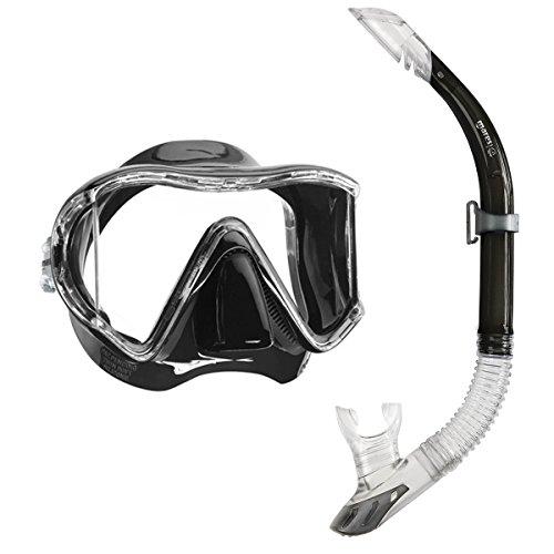 Mares i3 Einglasmaske Tauchermaske + Sailor Ventil-Schnorchel (schwarz)