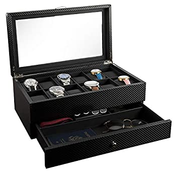 Watch Box- Display Case & Organizer For Men| First-Class Jewelry Watch Holder| 12 Watch Slots & Valet Drawer for Sunglasses Rings Phone| Sleek Black Color Glass Top Carbon Fiber & Faux Leather