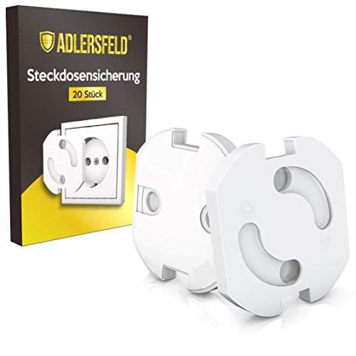 Adlersfeld® Kindersicherung für Steckdose mit Drehmechanik - 20 Stück Steckdosensicherung - Steckdosen Kindersicherung - Steckdosenschutz für Babys und Kinder