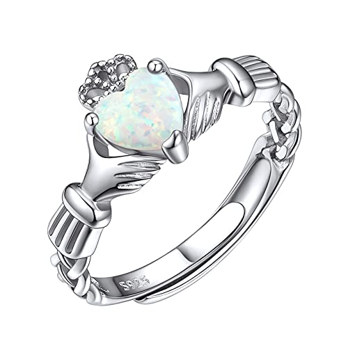 ChicSilver 925 Sterling Silver Irish BFF Celtic Claddagh Ring for Women, Created Opal Heart Promise Ring Eternity Wedding Band