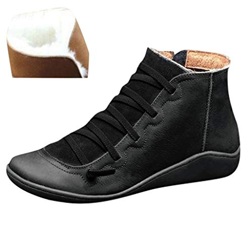 Meikosks 2019 New Women's Arch Support Boots with Side Zipper PU Leather Comfortable Damping Shoes