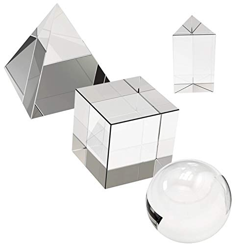 science classroom optics kits 4 Pack K9 Optical Crystal Photography Prism Set, Include 55mm Crystal Ball, 50mm Crystal Cube, 50mm Triangular Prism, 60mm Optical Pyramid with Gift Box& Wipe Cloth for Teaching, Playing, Photography