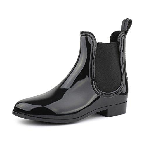 best-boots Damen Chelsea Boots Schuhe in Lack Blockabsatz SCHWARZ 743 Größe 39