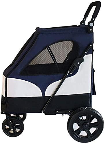 PFTHDE Cochecito para Mascotas 2 en 1, Remolque para Bicicleta para Perros, de tamaño Mediano a pequeño, Ligero, para Perros, Gatos, para Mascotas, Cochecito de Viaje, Plegable rápido con 1 Mano