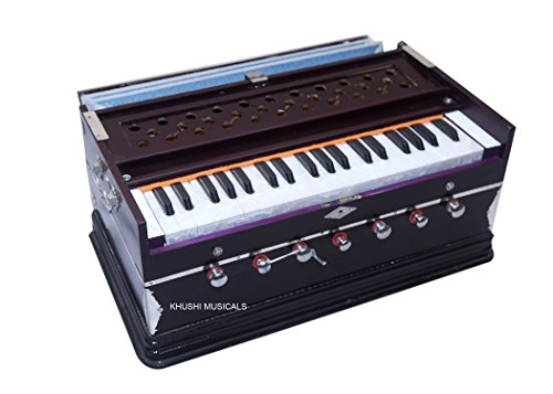 Khushi Musicals 7 Stopper, 3 1/4 Octaves, 39 Keys, Double Fold Bellow, Mahogany Color Harmonium with Cover/Bag