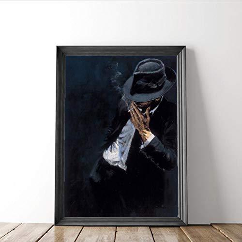 ZWBBO Canvas schilderij decoratief schilderij wandschilderij Cool Man leuk figuur canvas olieverfschilderij Smoking Man in zwart pak poster voor woonkamer decoratie muurkunst schilderwerk