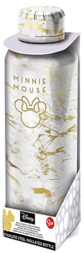 Pos 34011 Minnie Mouse Stainless Steel Water Bottle 515ml Double Walled Leak Proof Carbonated Drinks Bottle Ideal for School, Sports and Leisure