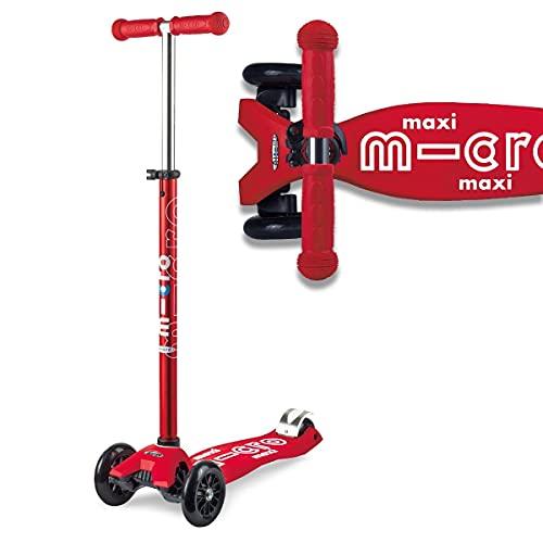 Micro® Maxi Deluxe, Diseño Original, Patinete 3 Ruedas, 5-12 Años, Peso 2,5kg, Carga hasta 70Kg, Altura 67-91cm, Rodamientos ABEC 9, Plataforma Antideslizante (Rojo, Talla Única)