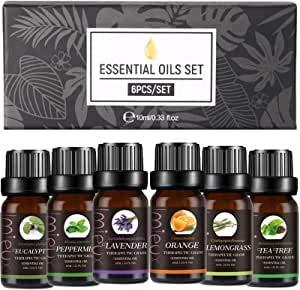 Ätherische Öle Set - 10 ml * 6 Aroma Diffuser Öl Aromatherapie Duftöl Öl, 100% reine Duftöle für Öldiffusoren - Lavendel, Zitronengras, Teebaum, Eukalyptus, Süßorange, Pfefferminze