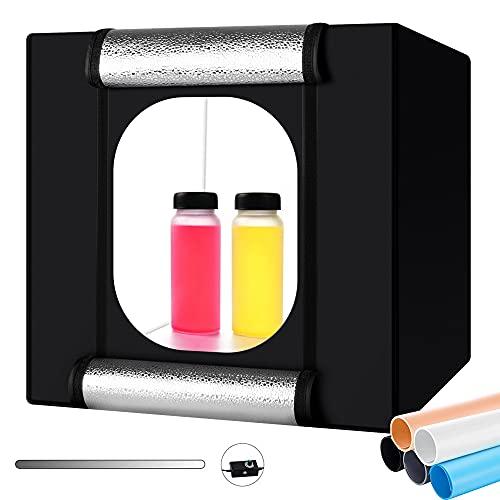 Fotozelt, Heorryn 40 x 40 x 40cm Faltbares Fotostudio Lichtzelt Set mit 126 Dimmbare LED-Beleuchtung und 5 Farbigen Hintergründen für die Fotografie