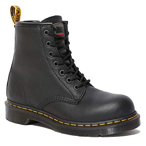 Dr. Martens, Women's Maple Zip Steel Toe Light Industry Boots, Black, 9 M US