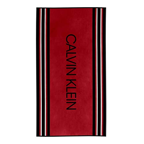 Calvin Klein Border Stripe Toallas de Playa, Algodón, Rojo, 91x183 cm