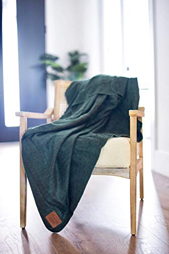 Pearth Blanket True Authentic Baby Alpaca Wool Throw Blanket - All Natural Warm Cozy Fiber - Handmade in Ecuador - Hypoallergenic - Ultra Soft Luxury Premium Quality - Queen Size (Forever Green)