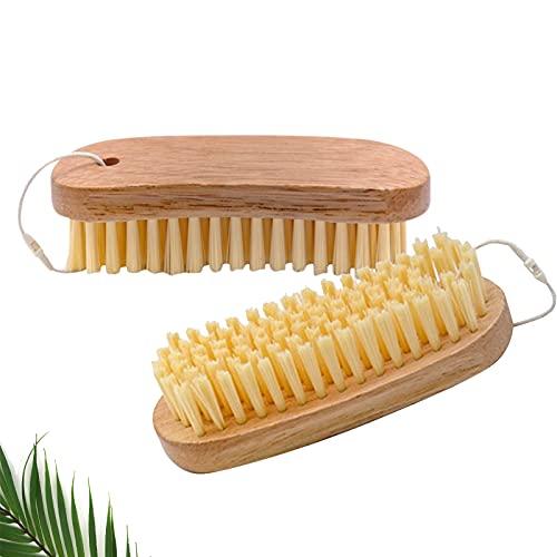 2 cepillos abrasivos, cepillo de limpieza de madera con cerdas naturales, ideal...