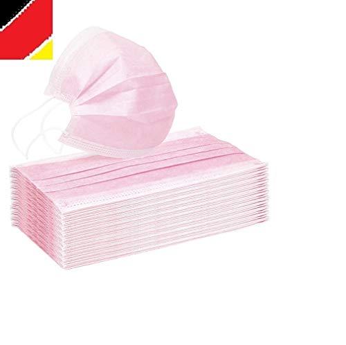 10 x Mundschutz Masken Einweg Mund Nase Gesicht 3 lagig Community Hygiene Behelfsmaske (17,4 x 9,8 cm (+/- 2 mm), rosa, 10)