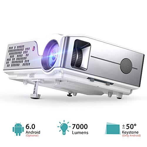 Proiettore Full HD Nativo 1920 X 1080P Wifi Proiettore Android 6.0 Videoproiettore 3D Home Theater 7000 Lumen