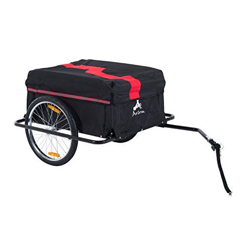 Aosom Elite Two-Wheel Bicycle Large Cargo Wagon Trailer with Oxford Fabric, Folding Storage, & Removable Cover, Red