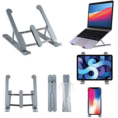 NI - Supporto PC Portatile, Porta PC Pieghevole, Laptop Stand con 7 Tipi di Angoli Regolabili, Alluminio Stand Ventilato Supporto per Computer MacBook PRO Air iPad Laptop Notebook 10-17  grigio