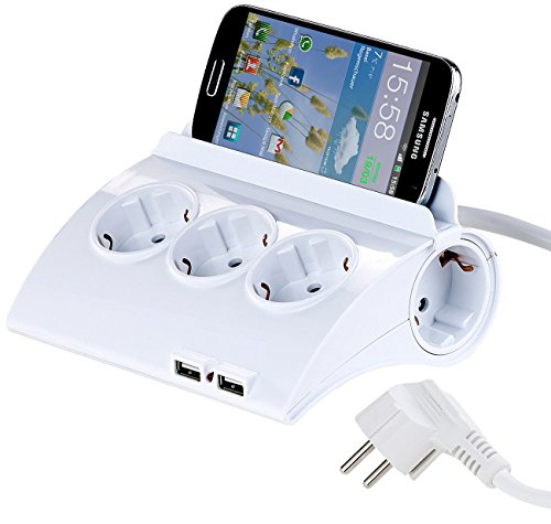 revolt Verteilerdose: Schaltbare 5-Fach-Steckdosenleiste, 2 USB-Ladeports, Smartphone-Ablage (USB Steckdosen)