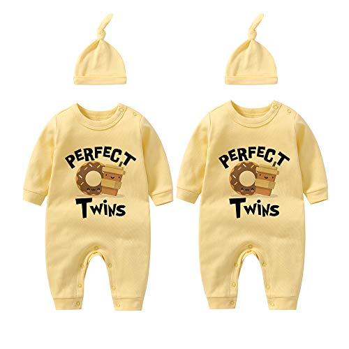 culbutomind Baby-Bodys für Zwillinge, Kaffee, Donuts, für Neugeborene Gr. 56, Donutset in Gelb