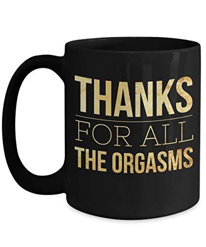 N\A Regalos románticos creativos para él - Mejores Regalos para Marido - Regalo de cumpleaños para Novio - Taza Negra - Gracias por Todos los orgasmos