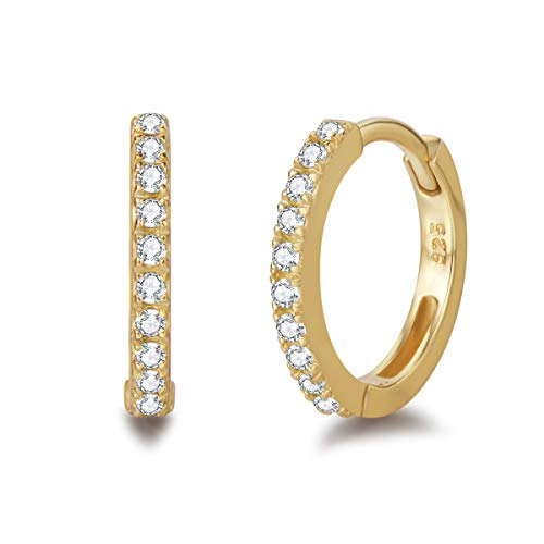 Damen Creolen Ohrringe 925 Sterling Silber Gold Vergoldet mit Zirkonia, Durchmesser: 11 mm - Weiß