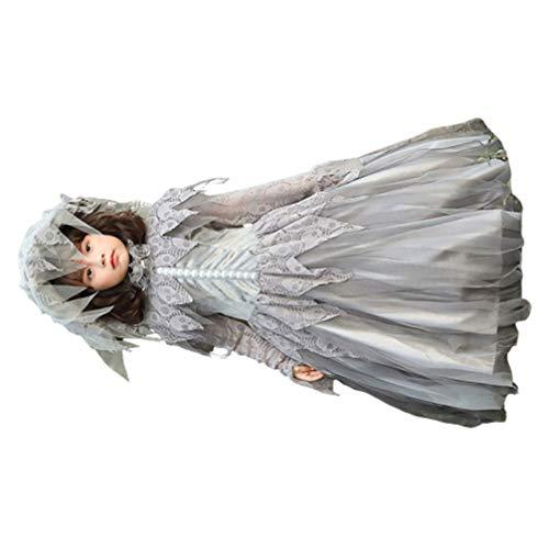 KESYOO Fantasma Vestido de Noiva Traje Crânio Vampiro Gótico Cosplay Saia Roupa de Cemitério para Crianças Festa de Carnaval de Halloween (Tamanho Cinza L)