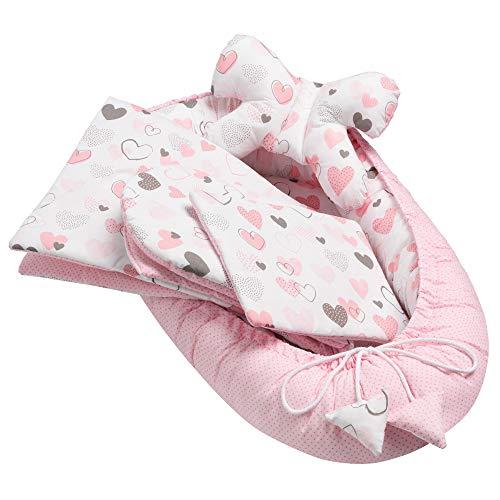 Solvera_Ltd 5tlg. Baby Ausstattung-Set inkl. Babynest 50x90cm, Nackenkissen, Flachkissen, Baby-Matratze, Kuscheldecke – antiallergen, kuschelweich, mit süßen Tieren, für Babys 0 bis 7 Monate (Hearts)