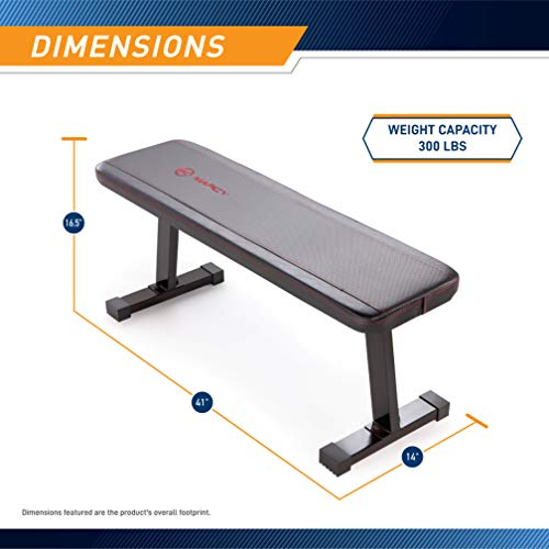 Marcy Flat Utility 600 lbs Capacity Weight Bench for Weight Training and Ab Exercises SB-315 , Black, 17 x 14 x 43.00 inches