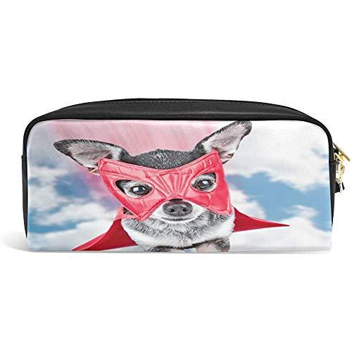 Make-up borstel tas, schattige Chihuahua in super held kostuum vliegen door de hemel make-up borstel zak, decoratieve pen rits zakken voor office reizen wandelen