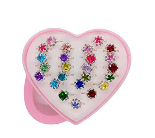 MIYIZOM Little Girl Girls Crystal Adjustable Rings, Princess Jewelry Finger Rings with Heart Shape Box, Girl Pretend Play and Dress up Rings for Children Kids Little Girls (24 Pcs) (A)